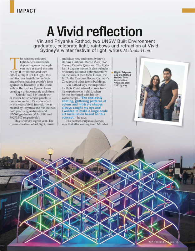 Kaleidowall, Vivid Sydney, 2014, Light installation, KW1.0, LEDs, Kaleidoscope, Kaleido, publication, art installation, public art, sydney, australia, circular quay, UNSWorld Magazine