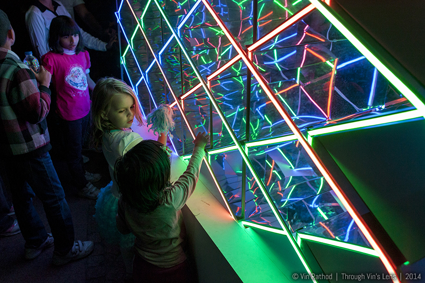 Kinds enjoying Art Installation Kaleidowall (Kaleido - Wall 1.0) at Vivid Sydney Light Festival