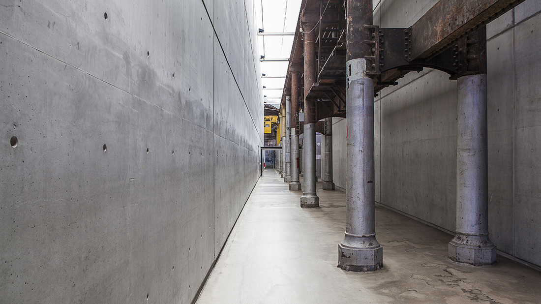 Carriageworks interior, Architecture photography, Commercial Photography, Concrete and metal, Grey walls