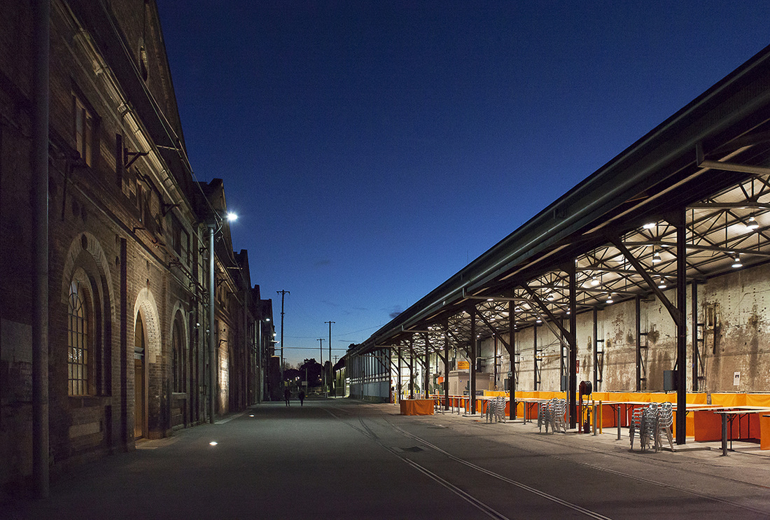 Carriageworks, brick building, old factory, contemporary art centre, sydney, redfern, eveleigh, architecture photography, commercial photography, blue hour photo, magic hour