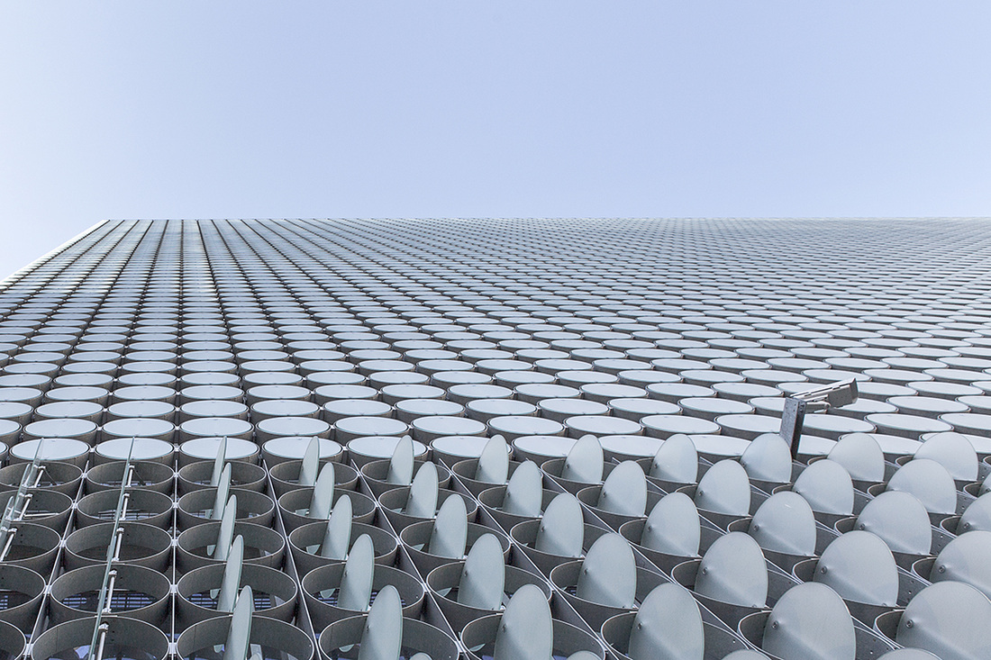 Architecture Photography, Commercial Photography, RMIT, Design Hub, Melbourne, Australia, Looking up, Unusual Facade