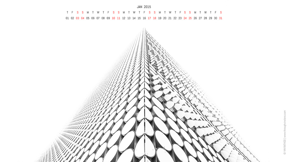 Wallpaper Calendar of 16:9 ratio for Jan 2015 showing abstract architecture photograph of RMIT design hub building in Melbourne in black and white