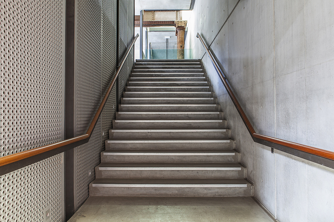 Carriageworks interior, Architecture Photography, Commercial Photography, Stairs, Concrete walls, Grey walls