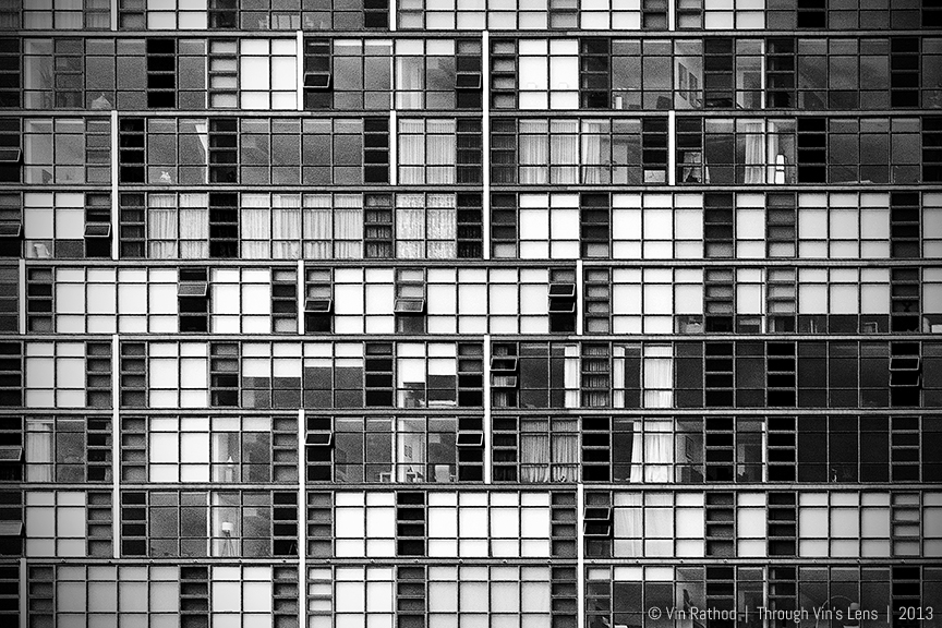 Urban Curtain, Black and White Architecture Photography of the facade of an urban high-rise