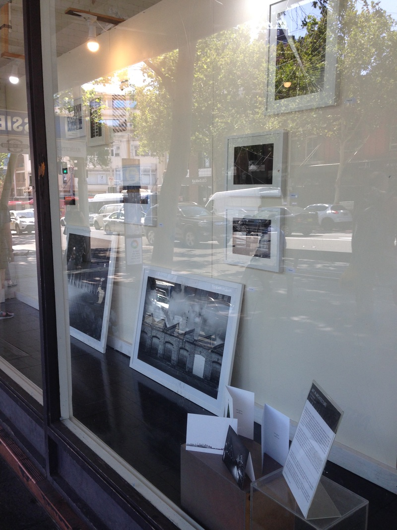 Window exhibition at The Makery Workshop showing Art in Architecture fine art images in Black and White, urban architecture photography, framed prints