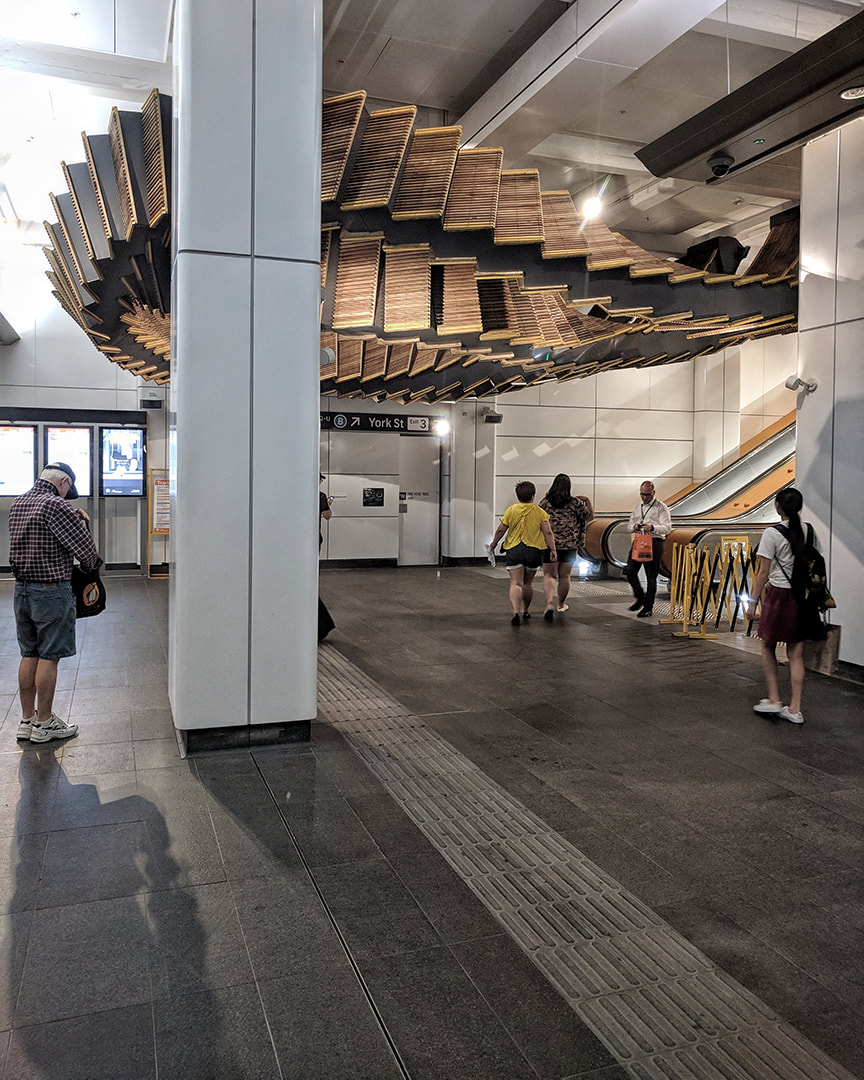 Art installation by Chris Fox frames York street exit at Wynyard station