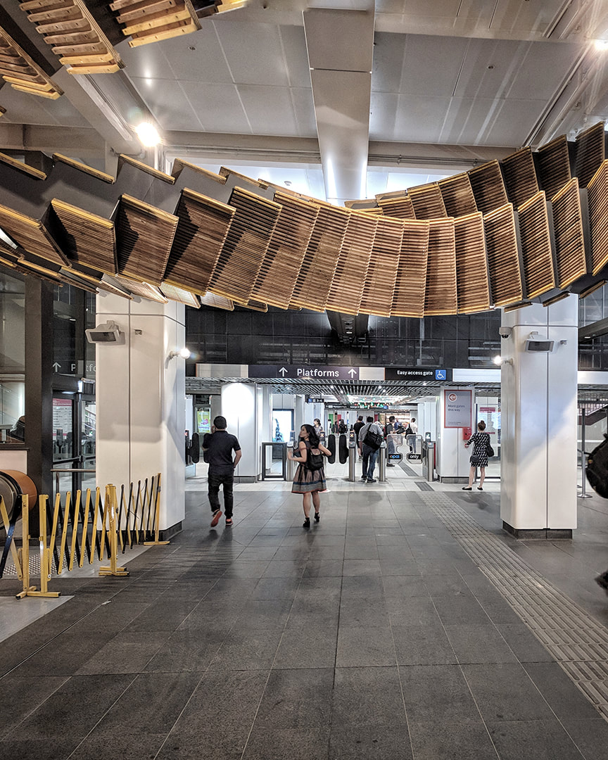 Interloop framing entry to Wynyard station from York street, Sydney