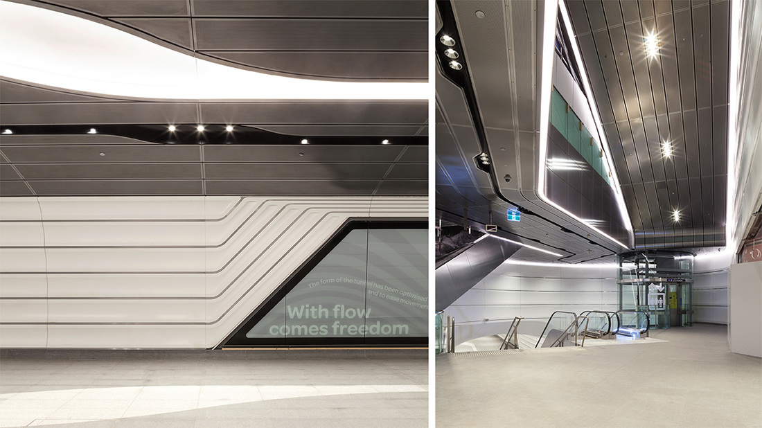 Play of lines in wall panels and ceiling panels at Wynyard Walk